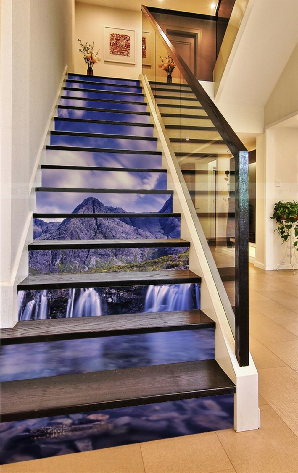 3D Gebirgsflüsse 15 Stair Risers Dekoration Fototapete Vinyl Aufkleber Tapete DE