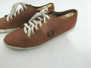 best value shoes for cheap half price FRED PERRY Brown Leather sneakers shoes sz 10.5 US | eBay