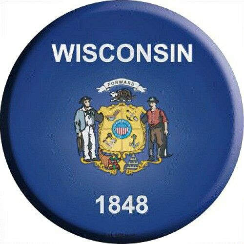 """WI Wisconsin State Flag 12/"""" Round Metal Sign US Patriotic Man Cave Home Decor"""