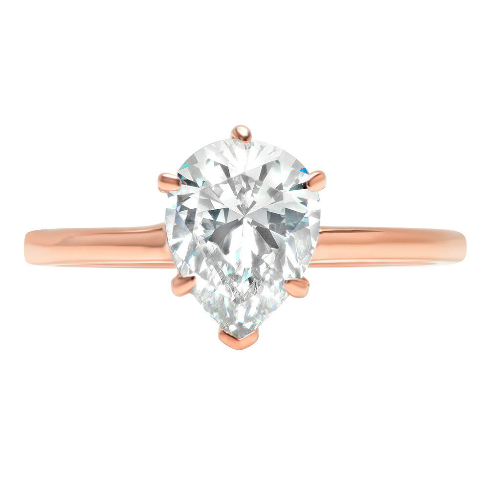 2.0ct Pear Cut Classic Solitaire Engagement Promise Ring Solid 14k pink gold