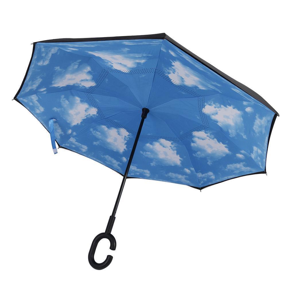 Moderne envers Down Inverse Parapluie C-Handle Double Couche Bleu Ensolleillé