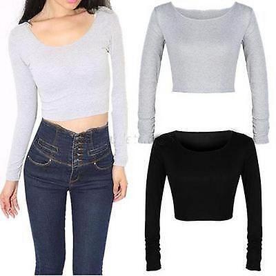 Ladies Sexy Crop Long Sleeve Top Crew Neck Tights Short T Shirt Blouse Shirt