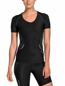 SKINS A400 WOMENS Ladies Short Sleeve V Neck Compression Top ... 8a46218a3