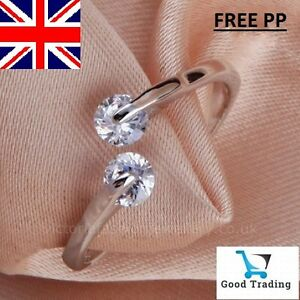 925-Sterling-Silver-Plated-TWIN-CUBIC-ZIRCONIA-RING-Thumb-Wrap-Ring-ADJUSTABLE