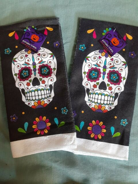 Skull Terry Hand Towels set of 2
