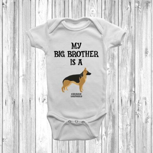 My Big Brother Is A German Shepherd Baby Grow Body Suit Vest Gift