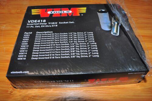 Deep Torx Socket Set 11 Pc E4 Thu E18 1//4In 3//8In Sq Dr VIM VDE418