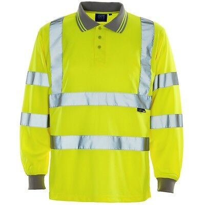 Supertouch Yellow High Vis Visibility Mens Work Polo Shirt Long Sleeve Bird Eye