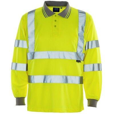Supertouch Hi Vis Long Sleeve Bird Eye Polo Shirt High Viz Work Top With Collar