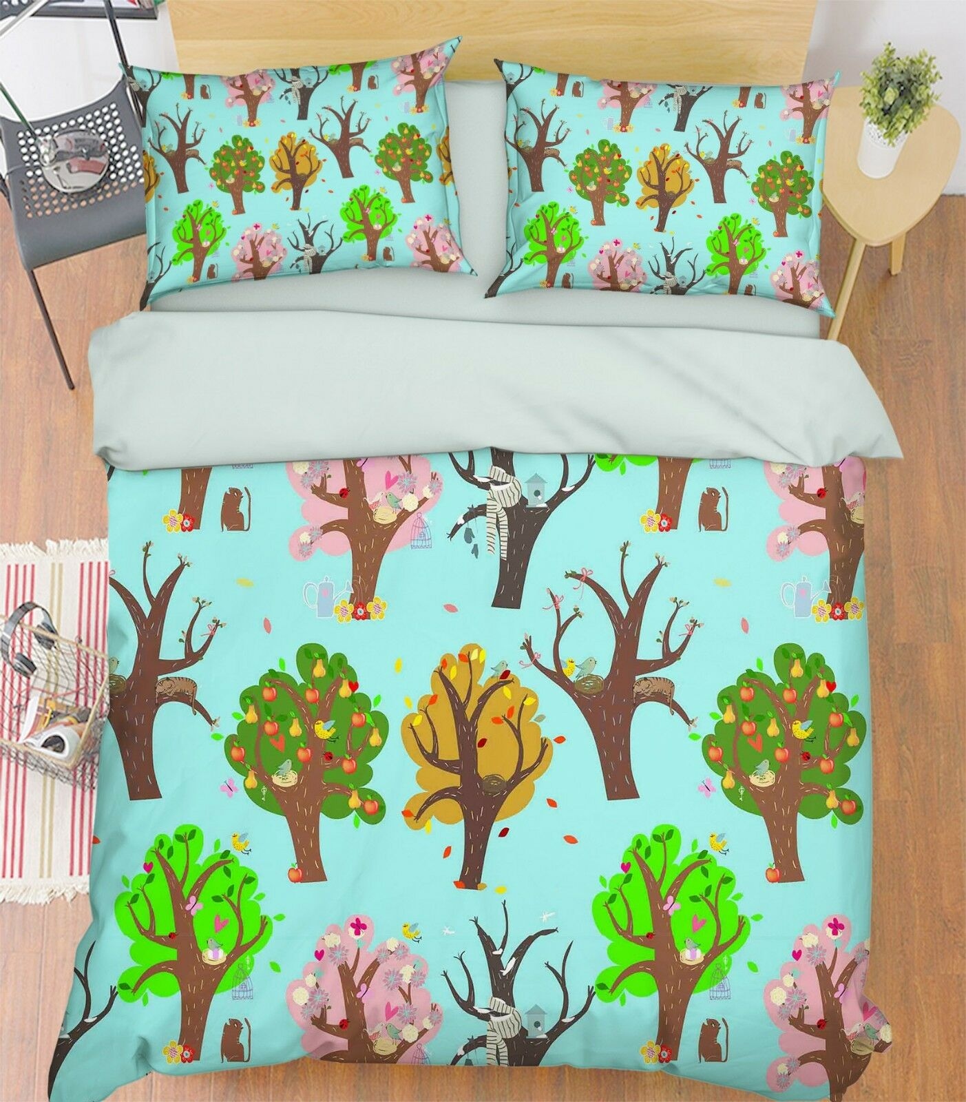 3D Doodle Tree 99 Bed Pillowcases Quilt Duvet Cover Set Single Queen King CA