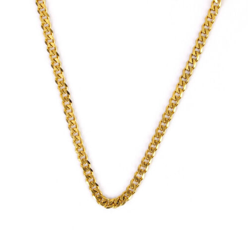 Chunky 18K Gold Stainless Steel Flat Curb Cuban Link Chain Mens Necklace 7mm