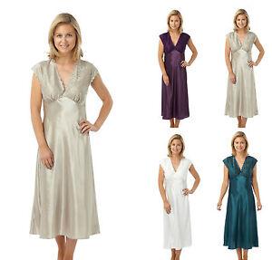 new arrival f0b70 591ae Details zu Damen Satin Spitze Nachthemd, Luxus Weich Designer Nachtwäsche,  Größe 38-56