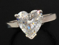 3 ct Heart Ring Vintage Top Russian CZ Moissanite Simulant SS Size 8