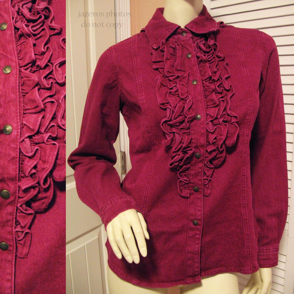 DIANE GILMAN damen Denim Jeans Button Down Shirt Ruffle Top S rot Long Sleeve