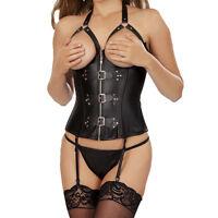 Women Lace Up Faux Leather Corsets Top Bustier Lingerie Punk Waist Training Plus