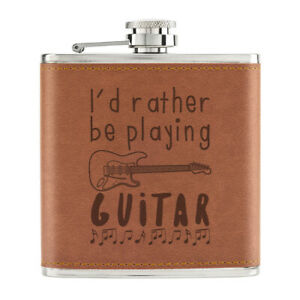 I-039-D-Rather-Etre-Playing-Guitare-170ml-Cuir-PU-Hip-Flasque-Brun-Music-Guitariste