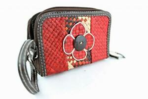 Ladies Women Straw Purse Double Zip Red Brown Orange