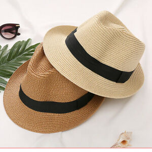 4237f5fb60f3c Vintage Boys Dad Mens Summer Straw Hat Kids Fedora Trilby Beach Sun ...
