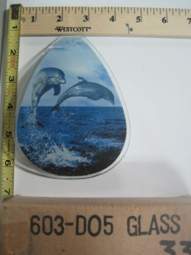 FREE US SHIP ok touch lamp replacement glass panel sm Dolpins Jumping 603 DO5