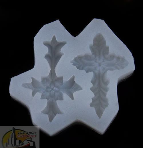 Cross Silicone Sugarpaste, Chocolate, Soap, Bakeware, fondant, Mould J5