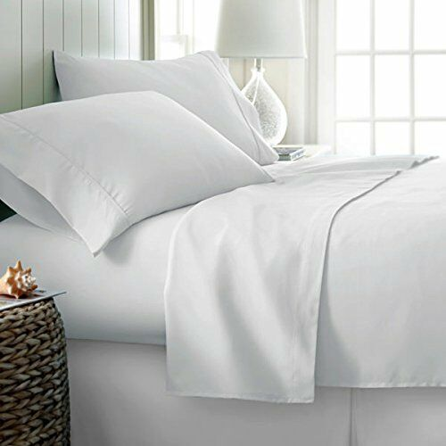 LUXURIOUS BEDDING SET WHITE SOLID 100% COTTON 600 THREAD COUNT 10 INCH DEEP
