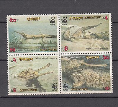 Dashing Bangladesh 1990 Wwf Reptiles Crocodiles Setenant Set Of 4 Mnh Stamps Latest Fashion Bangladesh Stamps