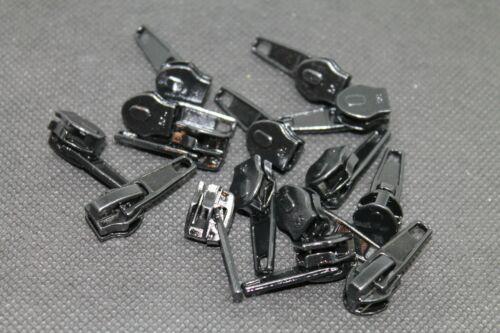 Schieber Ersatz Zipper für Reißverschlüsse mit Spirale Zähne Nummer 5 in Schwarz