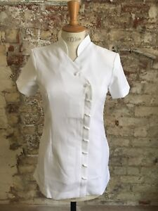 *sale* White Asymmetric Polyester Beautician Tunic Size18 - Removable Lining