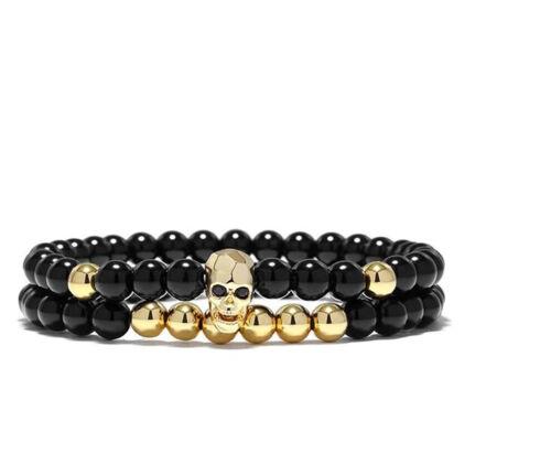 Pulsera-señora pulsera calavera remolque set perla Skull pulsera caballero #s39