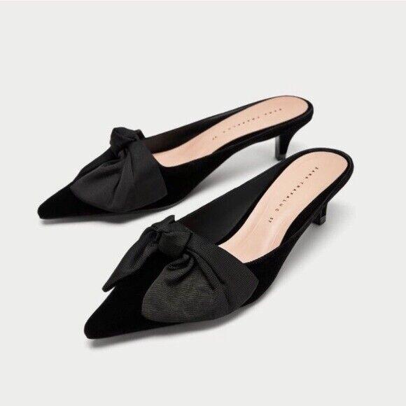 Zara Zara Zara arco Mulas Negro Terciopelo Tacones Gatito UK 5 EUR 38 US 7.5 Nuevo con etiquetas  Para tu estilo de juego a los precios más baratos.
