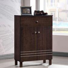 Wood Shoe Cabinet Shelf Drawer Shelves Bedroom Master Closet Storage Dark Brown