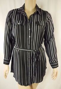 City-Chic-Black-White-Stripe-Long-Sleeve-Tunic-Top-Plus-Size-XS-14-BNWOT-C1019