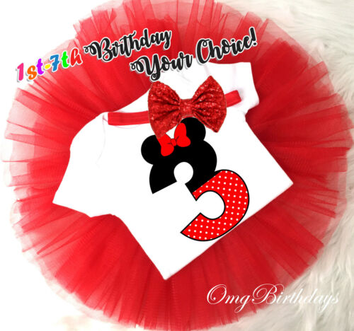 7th Birthday Girl Tutu Outfit Headband Set Red Minnie Mouse Custom First 1st