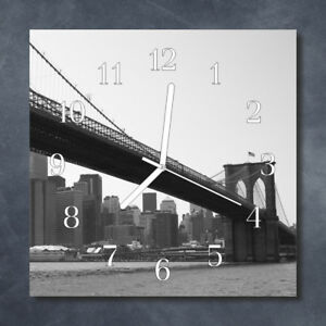 Glass-Wall-Clock-Kitchen-Clocks-30x30-cm-silent-Bridge-Black-amp-White