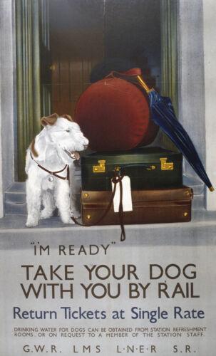 262 Vintage Poster Artistico ferroviarie-prendi il tuo cane con te