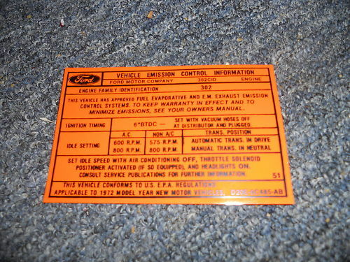 1972 FORD MUSTANG MACH 1 302 2V EMISSIONS DECAL