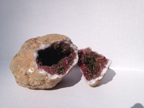 Emerald and Gold Dyed Quartz Crystal split Geode gift packaged! 2 pcs