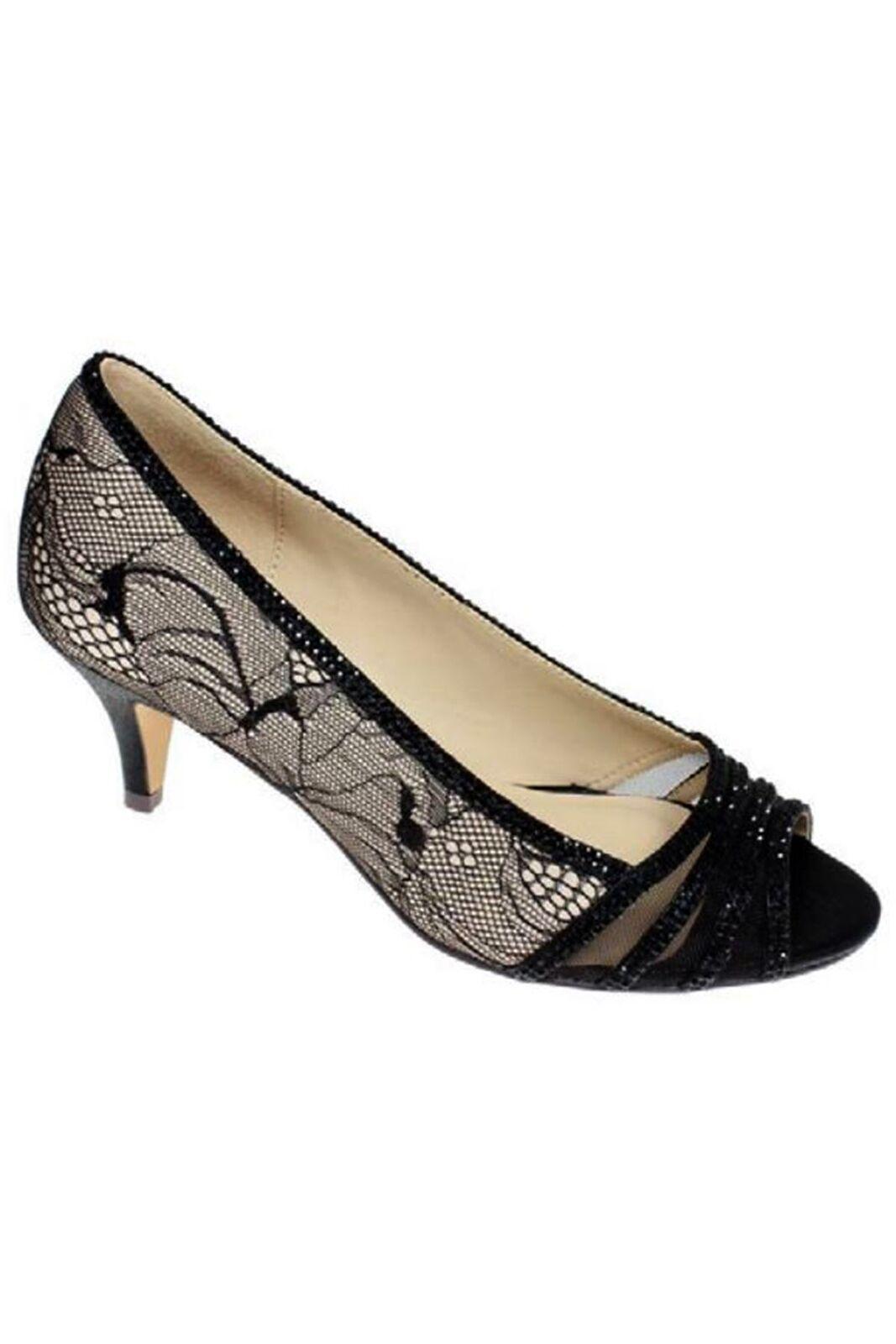FLR438 Faith Low Heel Lace Detail diamante Peep Toe Clutch Bag Slip On Heels