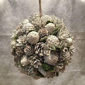 20cm-SATINATO-White-Pine-Cone-Palla-di-Natale-da-appendere-decorazione-wedding-NEVE