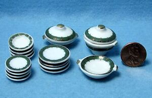 Dollhouse-Miniature-Dinner-Plate-Set-with-Servers-17-pcs-Green-amp-Gold-MT703