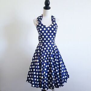 Vintage-Polka-Dot-Rockabilly-80s-Does-50s-DressTop-Bodice-Full-Sweep-Skirt-9-10