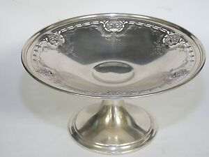 ANTIQUE-ALVIN-SOLID-STERLING-SILVER-PEDESTAL-COMPOTE-BOWL-9-034-x-4-75-034-346g