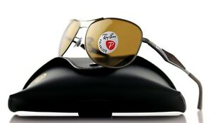 eb29841286 POLARIZED New RAY-BAN Matte Gunmetal Brown Aviator Sunglasses RB ...
