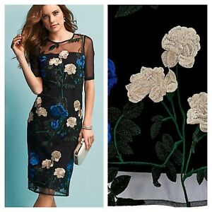 Kaleidoscope-Size-14-Black-Multi-Floral-Embroidered-DRESS-Occasion-Party-92