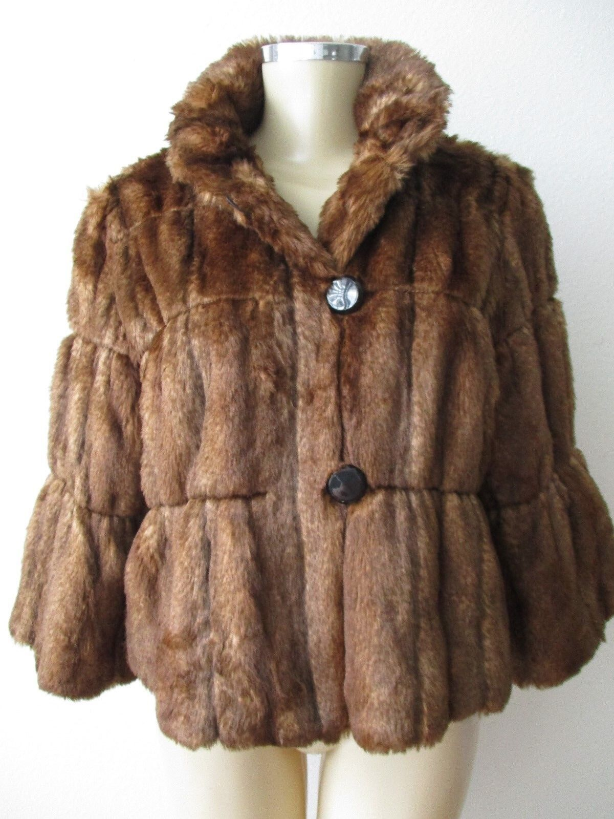 INC INTERNATIONAL CONCEPTS BROWN FAUX FUR 3 4 SLEEVE COAT SIZE S - NWT