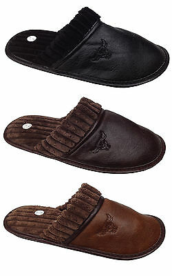 Mens Leather Look Casual Slipper Mules Soft Warm Textile Home Indoor Shoes