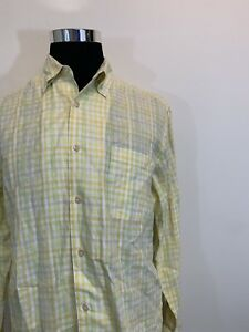 23f725552 Tommy Bahama Men's Shirt Long Sleeve Size M Yellow Plaid Button ...