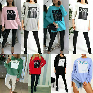 Ladies-Women-039-s-Coco-Paris-Print-Oversize-Sweatshirt-Fashion-Pullover-Dress-new