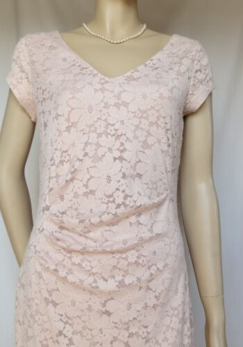Pink Dress Lace Jersey Laura Ashley Pearl Nuovo 36 Lace Pink Lace EwcAX1qzX