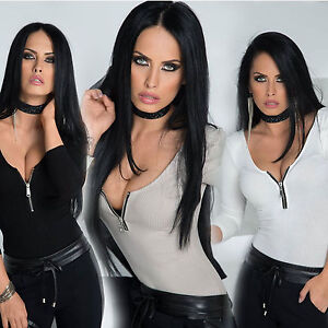 By-Alina-Damen-Body-Bodysuit-Shirt-Bluse-Ripp-Pullover-Oberteil-Damentop-XS-M